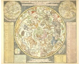 Antique star chart art print, Celestial map reproduction, Zodiac art, Astrology, Astronomy, Constellations, Northern hemisphere, Universe
