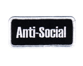 Anti Social Name Tag Patch Shut Up Stop Talking Embroidered Iron On Applique