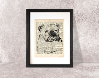 English Bulldog print-Bulldog dictionary print-English bulldog on book page-home decor-dog print-funny dog print-dog-NATURA PICTA-NPDP073