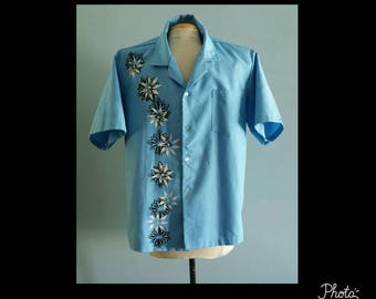 Vintage mens blue Hawaiian with silkscreen floral print