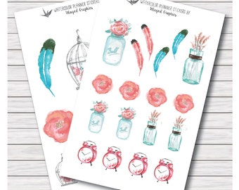 Whimsical watercolor shabby chic/bohemian planner stickers (2 pages) for Erin Condren life planners, filofax, happy planner, kikkik etc