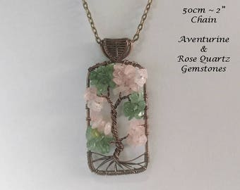 Tree of Life Necklace with Aventurine & Rose Quartz Gemstones on this Bronze Wire Wrapped Tree of Life Pendant | Gifts for Women, TOLN037
