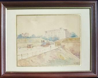 Antique Watercolour Landscape Circa 1900 Signed Garat