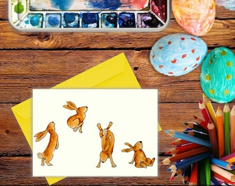 Hopping Rabbits Easter Card