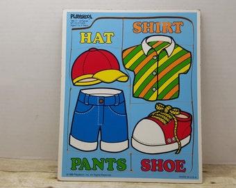 Playskool vintage puzzle, 1986, wood mdf board, My Clothes, vintage toy, vintage puzzle