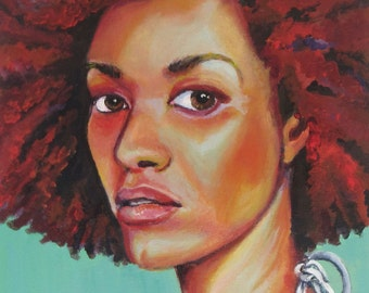 "Canvas Print, ""Headturner on Turquoise"", Wall Art, Original Art, Canvas Art, Prints, Original Painting, Portrait, Figurative Art, 11X14"