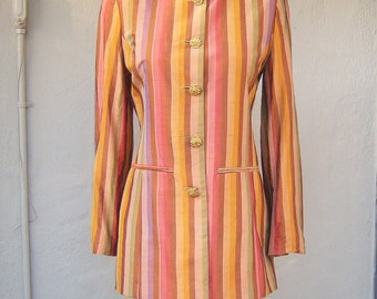80s 90s Designer jacket, Renato Nucci, Paris, SILK, jewel neckline fashion jacket, womens 36 small