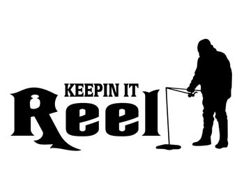 Ice Fishing Decal, Keepin it Reel Ice Fish Sticker, Outdoorsman Fishing Decal, Ice Fisherman