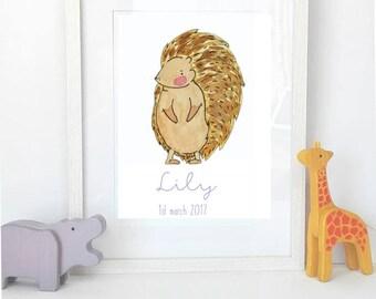 Hedgehog Nursery Art, Personalised Children's Print, Personalised Baby Gift, Baby Girl Gift, Woodland Nursery Art, Hedgehog Art Print, Kids