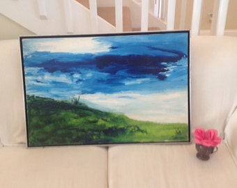 """GORGEOUS VINTAGE PAINTING / Blue Sky Green Grass / Gorgeous Vibrant Painting / 31"""" x 21"""" / Floating Artwork Frame at Retro Daisy Girl"""