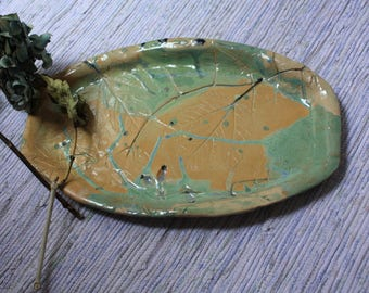 Handmade Ceramic platter, decorative leaf imprints, ceramic serving platter, pottery dish, handcrafted gift, housewarming gift