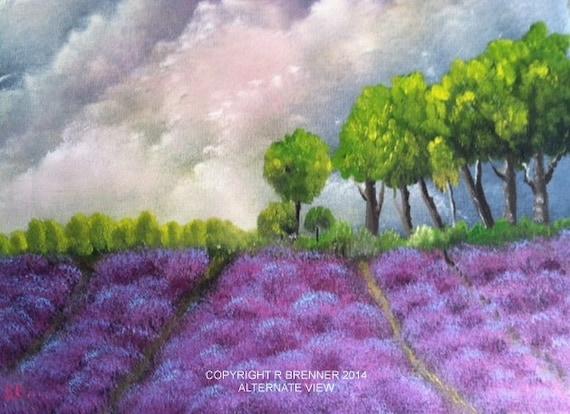 Lavender Farm, landscape painting, flower painting, lavender painting