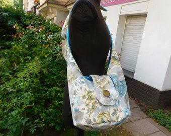 Bag big grey blue Balloon Bag big floral  Bag ,  handmade Bag ,  Cottonbag  , Flowerbag - Shoulderbag - Womensbag