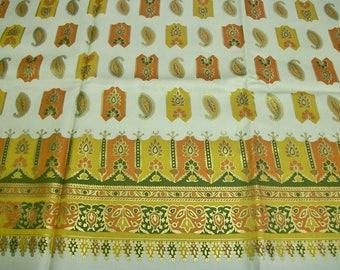 50s 60s Border Print Fabric . Vintage Paisley Fabric Gold Metallic . 5+ Yards