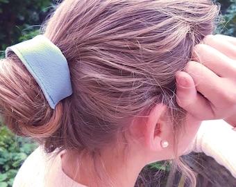 Blue Leather Hair Tie, Hair Accessories, Elastic for hair and Wrist, Hair Elastic, Hair Ties, Leather hair Accessories, Blue Leather Gift