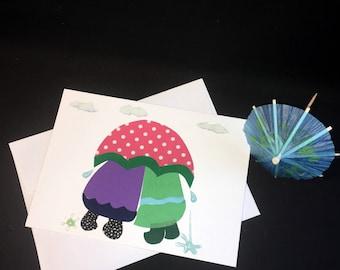 Springtime note card, rainy day card, friendship card, OOAK card