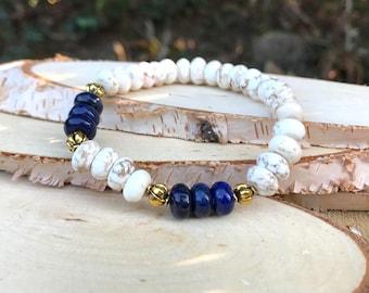 Lapis magnesite gold bracelet self-confidence, concentration, self-determination