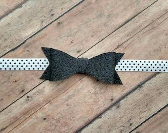 Black glitter felt bow on black and white Polka dot elastic band for baby, toddler and adult