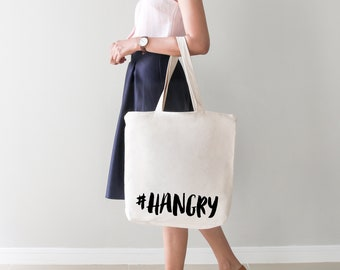 Hashtag #Hangry tote bag | Foodie | | Food lover | Holiday | Shopper | Packable | Funny | Travelling | Beach bag | 5p bag