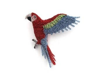 Parrot brooch - macaw parrot jewelry, bird brooch