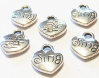 """10 """"Sing"""" Charms (double sided puffed) 12x10mm"""