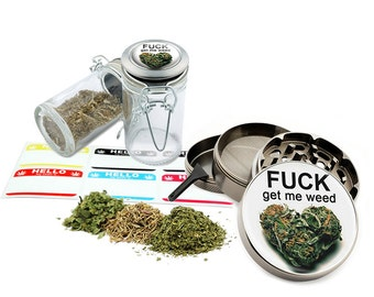 "Get Me Leaf - 2.5"" Zinc Alloy Grinder & 75ml Locking Top Glass Jar Combo Gift Set Item # G022115-071"