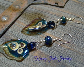 Lampwork Beaded Earrings-Butterfly Winged Earrings-Artisan Lampwork Sterling Silver Dangle Earrings-Art Bead Earrings-SRAJD - Artisan Beads