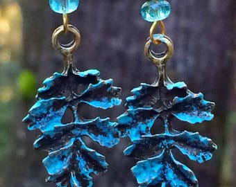 Patina leaf earrings, Woodland earrings, nature inspired, gift, patina jewelry