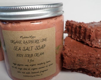 FREE SHIPPING-ORGANIC/Vegan Raspberry Lime Sea Salt Body Scrub Cream Soap 8oz. & A chunk of Raspberry Lime Sea Salt Body Soap