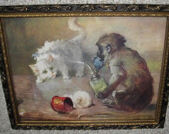 """Antique Victorian Print """" Revenge """" Monkey Sprays Cat With Atomizer Housed in Old Victorian Black and Gold Gesso Frame With Old Wavy Glass"""