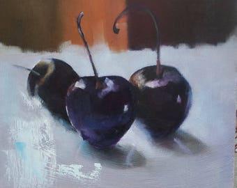 Fruit oil painting, small apinting, black cherries