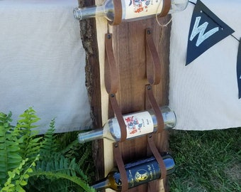 Walnut and Leather wine rack.