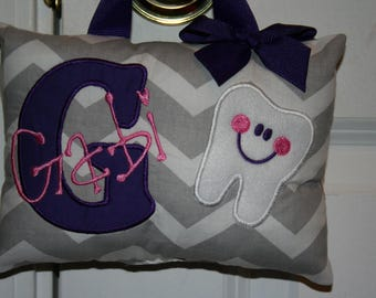 Tooth Fairy Pillow for Girls Personalized Tooth Chart Chevron Purple Gray