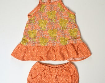 6-9 month Tangerine and Yellow Ruffle Tunic Dress with Diaper Cover