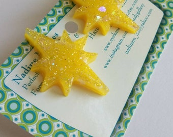 Yellow Atomic Star Earrings, starburst, midcentury, vintage inspired, retro, birthday gift, present, Jewelry, Glitter, pinup.
