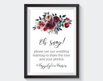 Fall Wedding Hashtag Sign - Floral Hashtag Sign - Printable Wedding Hashtag Sign - Fall Florals - Custom Sign - Customized Hashtag Sign