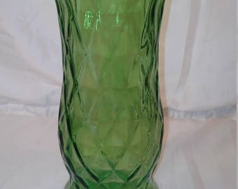 Vintage E. O Brody Green Glass Vase Diamond Home Decor Collectible