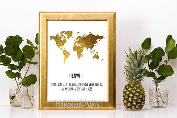 World map poster gold world map travel quote print world map world map poster gold world map travel quote print world map digital print fernweh wanderlust print travel quotes inspirational wall art gumiabroncs Images