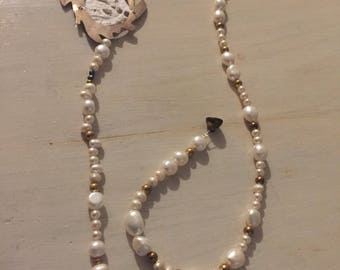 Lace silver pearl interchangeable necklace