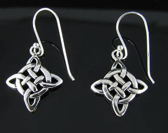 925 Polished Sterling Silver Irish Celtic Knot Weave French Wire Earrings
