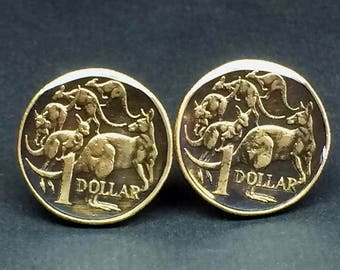 Australia  coin cufflinks dollar Kangaroo  25mm