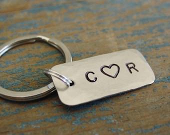 Personalized Keychain,Couple Initials,Tiny Keychain,Custom Keychain,Hand Stamped,Anniversary Gift,Boyfriend Gift,Husband Gift,Cute Keychain