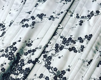 "Underbust Corset Silver & Black Chinese Silk (32"" waist)"