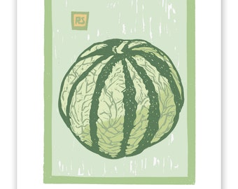 ART516: French Melon Block Print Art Reproduction