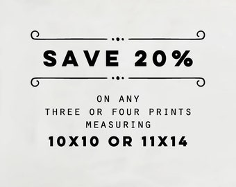 SALE - Choose any three or four 11x14 or 10x10 fine art prints, Fine Art Photography Set