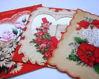 Vintage Die Cut Red Flowers Hearts Valentine's Day Greeting Cards Lot