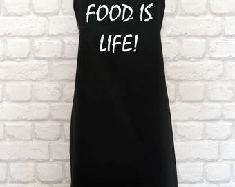 Food Is Life! Apron   Funny Apron   Funny Aprons   Funny Kitchen Apron