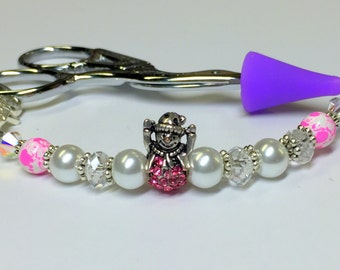 Beaded Snowman Scissor Fob Jewelry, Sewing Accessories, Scissor Charm Gifts
