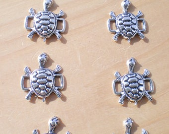 Silver Turtle Connectors, Set of 25 (Bulk Lot), Tortoise Connectors, Buckle Sliders, Jewelry Findings