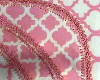 Pink & White hemstitch crocheted flannel baby blanket and burp cloth, double sided flannel receiving size 36x40. Perfect swaddle.